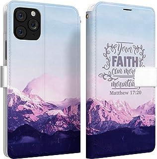 Mertak Wallet Case Compatible with iPhone 11 Pro Max SE 10 Xr Xs X 8 Plus 7 6s Matthew 17:20 Folio Mountains Flip Protecti...
