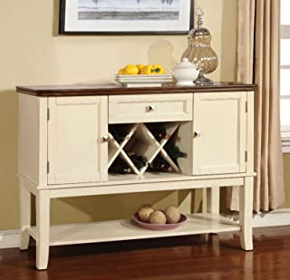 Furniture of America CM3326WC-SV Dover Vintage White and Cherry Server Dining Room Buffet