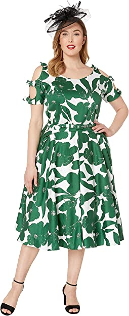 Plus Size 1950s Bow Sleeve Selma Swing Dress