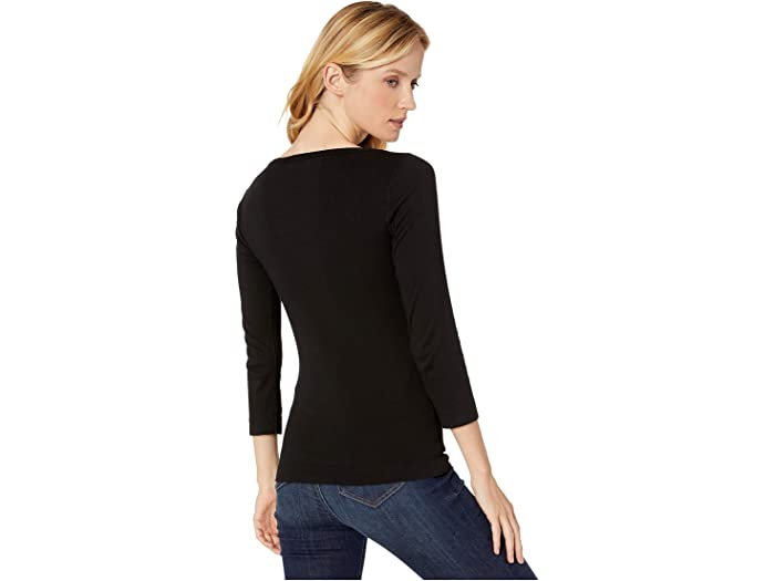 Xcvi Essentials Minim 1x1 Rib Long Sleeve Wide Neck Tee - Women Clothing