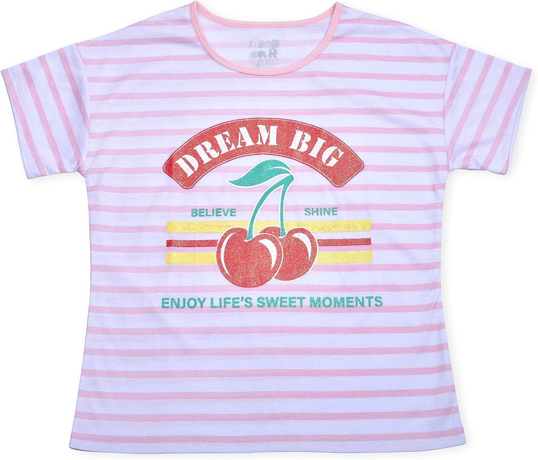 2 Full Sets Sleep On It Girls 4 Piece Summer Pajama Tank Top and Short Sleeve Shorts Set
