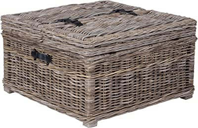 East at Main Hank Grey Rattan Square Coffee Table, (31x31x18)