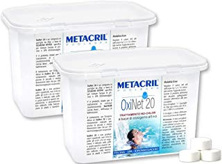 Metacril OXI Net 20 kg 1,2 x 2 unidades – Oxígeno activo en pastillas de 20 g – Ideal para piscina o hidromasaje (Teuco, Jacuzzi, Dimhora, Intex, Bestway, etc.).