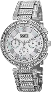 Women's Multifunction Crystal Accented Watch - Mother-of-Pearl Swiss Quartz 3 Subdials On Bracelet Watch - BUR123