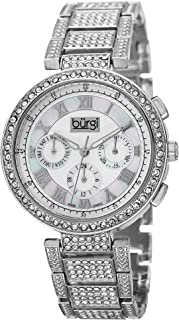 Burgi Women's Multifunction Crystal Accented Watch - Mother-of-Pearl Swiss Quartz 3 Subdials On Bracelet Watch - BUR123