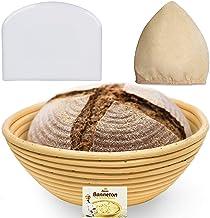 9 Inch Bread Banneton Proofing Basket - Baking Bowl Dough Gifts for Bakers Proving Baskets for Sourdough Lame Bread Slashing Scraper Tool Starter Jar Proofing Box
