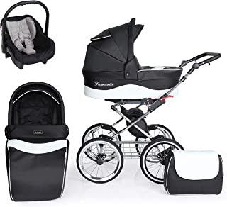 SaintBaby passeggino Retro Classic Exclusiv 2in1 3in1 Isofix seggiolino per bambini passeggino combi buggy Black 02 3in1 c...