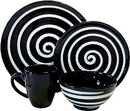 Waechtersbach Freestyle 16-Piece Dinnerware Placesetting, Service for 4, Black Swirl