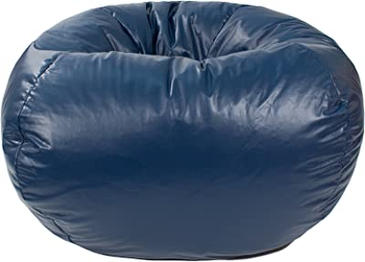 Gold Medal Bean Bags Medium Leather Look Beanbag, Tween Size, Navy