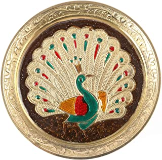 Aatm Brass Puja Plate with Peacock Emobossed Design Best for Home & Office Decoration & Gift Purpose Handicraft (5 Inch)