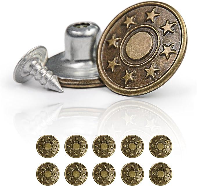 Jeansknöpfe Nietknöpfe Hosen Knopf Buttons Knöpfe Druckknöpfe nähfrei LL 60 tlg