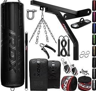 RDX 14PC Punching Bag 5ft 4ft Heavy Filled Set, Non Tear Maya Hide Leather Adult Bag Wall Bracket Floor Hook Punch Gloves ...