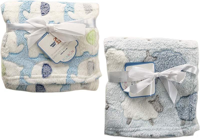 2 Pack Super Soft Plush Lightweight Furry Fleece Animal Zoo Sheep Elephant Navy Baby Blue Boy Blanket Twins Gift Set
