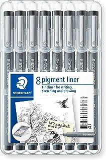 Staedtler Pigment Liner Fineliner Pens with Assorted Line Width - Black (Set of 8)