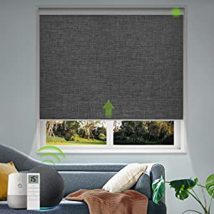 Yoolax Motorized Smart Blind for Window with Remote, Automatic Blackout Roller Shade Work with Alexa Google Home, Electric Solar Blind Customize for Sliding Door, Living Room (Fabric-Dark Grey)