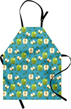 Ambesonne Apple Apron, Fresh Granny Smith Apples Raw Fruit Ornamental Harvest Winter Season Produces, Unisex Kitchen Bib with Adjustable Neck for Cooking Gardening, Adult Size, Apple Green