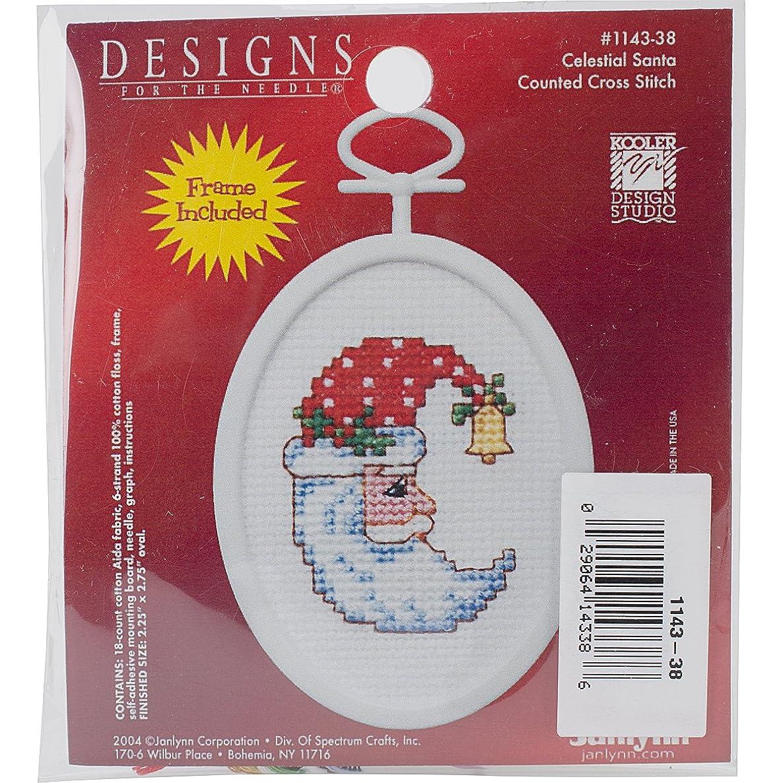 Janlynn 18 Count Oval Celestial Santa Mini Counted Cross Stitch Kit, 2.75-Inch