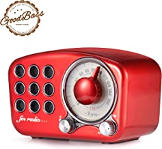 Retro Bluetooth Speaker, Vintage Radio-Greadio FM Radio with Old Fashioned Classic Style, Strong Bass Enhancement, Loud Volume, Bluetooth 4.2 Wireless Connection, TF Card and MP3 Player (RED)