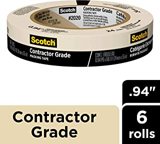 Scotch Contractor Grade Masking Tape, 0.94 inch x 60.1 yard, 2020, 6 Rolls