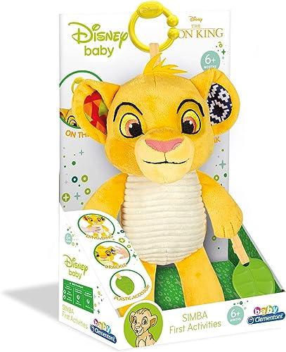 Clementoni - 17296 - Peluche Premières activités - Disney Le Roi Lion - Jouet bébé, 6 Mois et Plus Multicolore