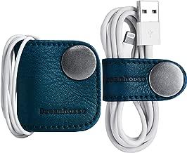 ELFRhino Earphone Organizer Genuine Leather Headphone Headset Earbuds Cord Wrap Winder Cord Manager Cable Winder Holder Keeper Manager Management(Blue, Pack of 2)