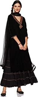V Neck Full Sleeve Long Embroidered Kurta With Palazzo And Dupatta