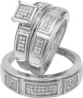 Dazzlingrock Collection Anillo de compromiso clásico de 0,33 quilates para hombre y mujer con diamantes blancos redondos d...