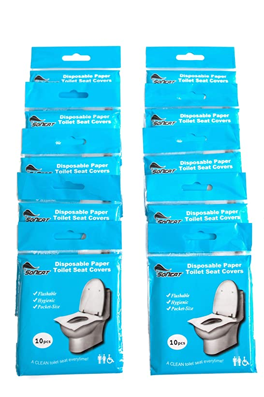 SoNeat Disposable Paper Toilet Seat Covers 10 Packs (100-Count) Travel Essential, Flushable, Biodegradable
