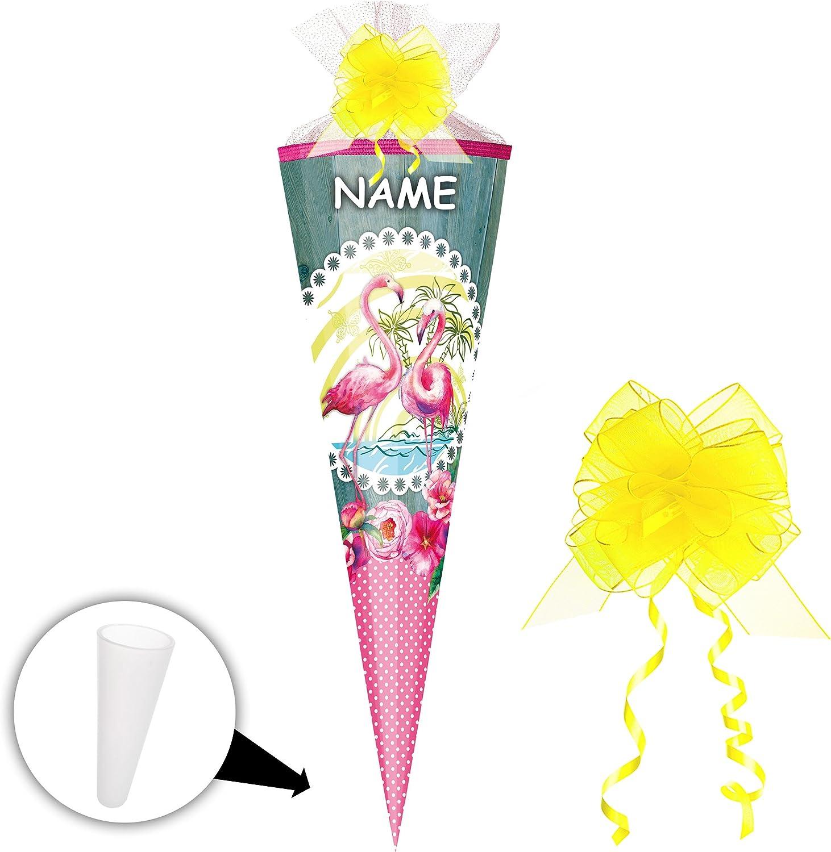 Alles-meine  GmbH 5 5 5 Stück _ Schultüten -  Flamingo & Blaumen - gepunktet  - 50 cm - rund - incl. Name und Schleife - mit Tüllabschluß - Zuckertüte - mit   ohne Kunststoff Spit.. B07DHXYWVY | Preiszugeständnisse  b3f544