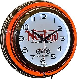 Norton Motorcycle Red Double Neon Clock Garage Man Cave Decor