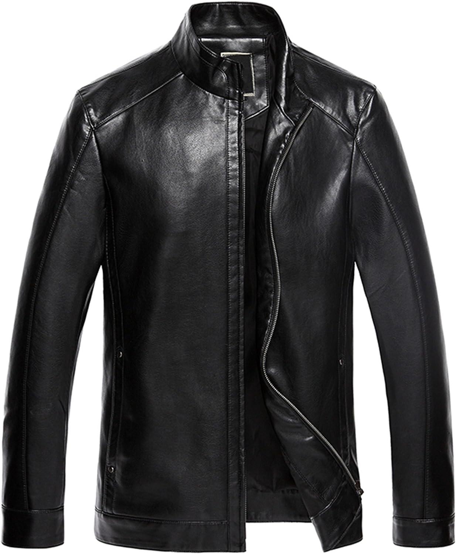 LOVE TIME Men Fashion Leather Slim Machine car Leather Jacket Coat Outwear