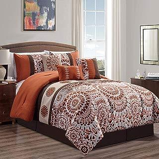 KingLinen 7 Piece Eliaa Rust/Taupe Comforter Set Queen