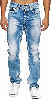 MegasTYL Men's Basic Streetwear Thick Seams Regular Fit Men's Jeans