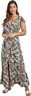 فستان ماكسي وقبة V بطباعة نمط استوائي للنساء مع تفصيل بشكل اضافات من الدانتيل
