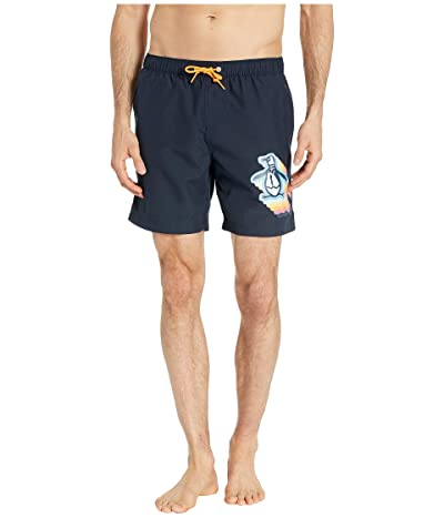 Original Penguin Big Layered Pete Non-Stretch Swim Shorts (Dark Sapphire) Men
