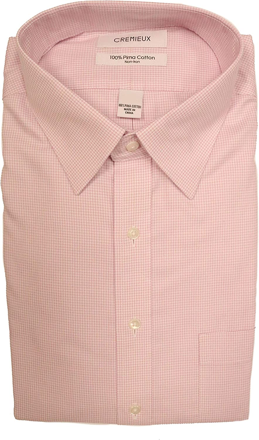 Cremieux Non Iron Classic Fit Spread Collar Plaid Dress Shirt S95DH012 Pink