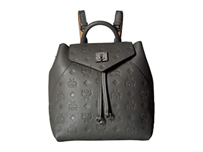 MCM Essential Monogrammed Leather Backpack Small (Charcoal) Backpack Bags