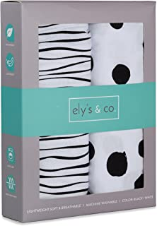 Changing Pad Cover Set   Cradle Sheet 2 Pack 100% Jersey Cotton Black and White Abstract Stripes and Dots by Ely's & Co