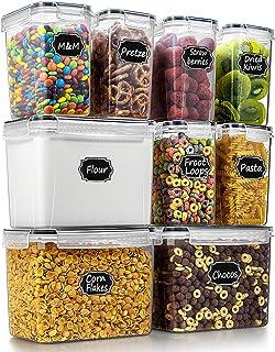 Wildone Lot de 9 récipients hermétiques pour céréales et aliments secs pour farine, sucre, matériel de cuisson, avec 4 tas...