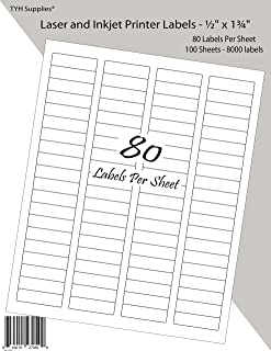 TYH Supplies Address Labels 0.5 x 1.75 Inch, White Matte, 8000 Labels, Laser & Inkjet Printer, Strong Adhesive, Compatible with Avery 8167 Template