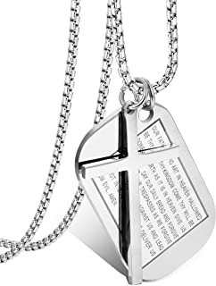 Jstyle Stainless Steel Dog Tags Cross Necklaces for Men Prayer Cross Necklace Military Rolo Chain 3mm 24 Inch Silver Bible Prayer