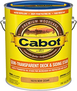 Cabot 140.0016316.007 Semi-Transparent Deck & Siding Low VOC Exterior Stain, Gallon, New Cedar