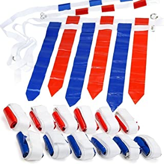 WYZworks 12 Player 3 Flag Football Set - 12 Belts with 36 Flags [ 18 RED & 18 BLUE Flags ]