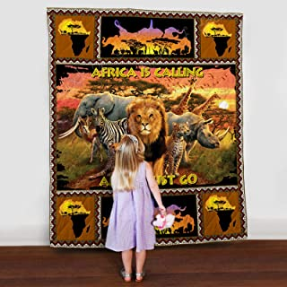 African Safari Quilt TH625, Queen All-Season Quilts Comforters with Reversible Cotton King/Queen/Twin Size - Best Decorative Quilts-Unique Quilted for Gifts