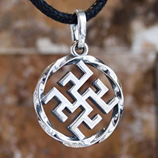 925 Sterling Silver Ancient Pagan Amulet Fern Flower Pendant Necklace Viking Thunder Cross Occult Sacral Energy Symbol Norse Nordic Slavic Jewelry for Men Women Handmade