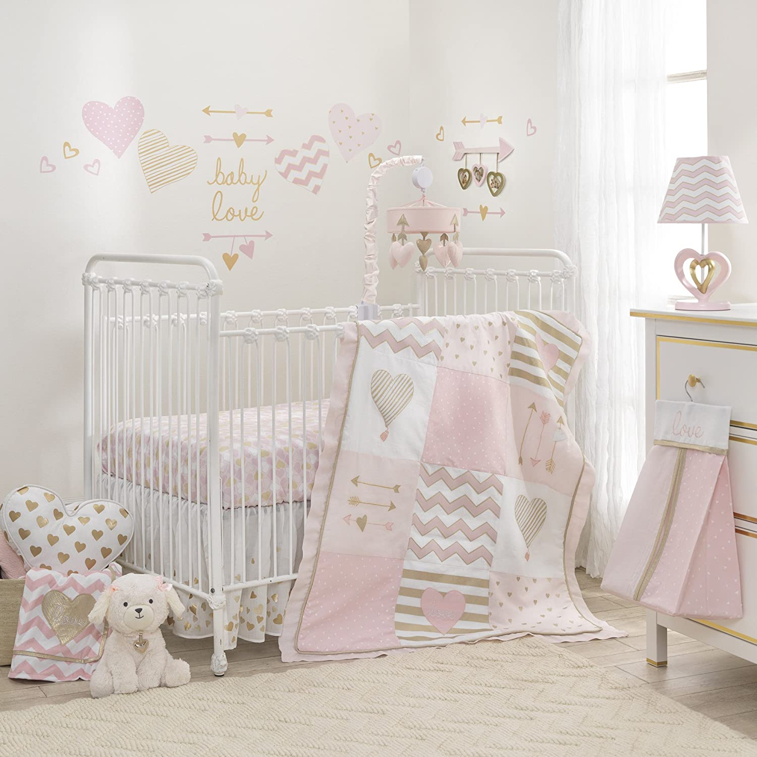 Lambs Ivy Baby Love Pink Gold Girl 4 Low Special Campaign price Heart Bedding Crib Piece