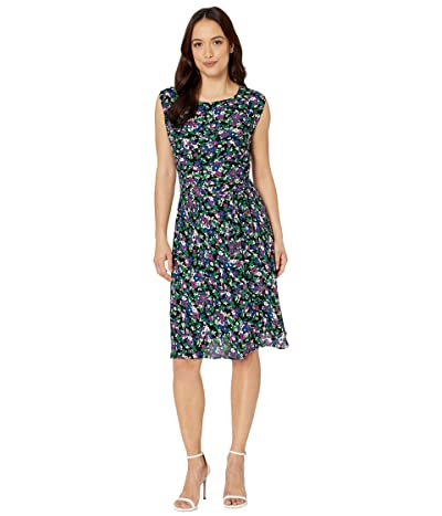 LAUREN Ralph Lauren Petite Georgette Cap-Sleeve Dress (Polo Black Multi) Women