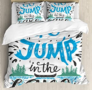 Ambesonne Cabin Decor Duvet Cover Set King Size, Vintage Typography Inspiration Quote Lake Sign Canoe Fishing Sports Theme, Decorative 3 Piece Bedding Set with 2 Pillow Shams, Blue Black Green
