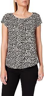 ONLY Women's ONLVIC S/S AOP PTM Blouse, Color: Black/Aop: Leo Eggnog, Size: 38