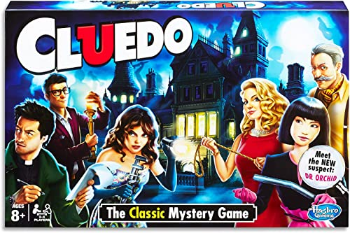 Hasbro 38712 Cluedo Classic - Murder Mystery Board Games - 2 to 6 Players - Ages 8+, White, Green, Black, Height: 39 cm